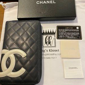 Chanel ZIP AROUND Cambon calfskin organize…